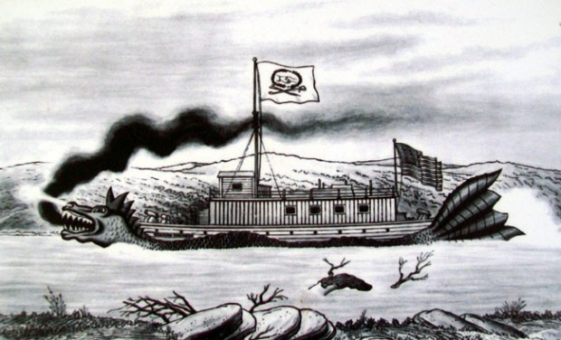 A fanciful drawing of the Western Engineer, one of the first steamboats to travel up the Missouri River in 1820.